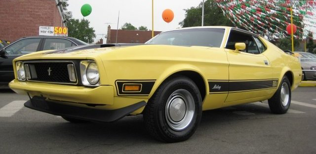 Medium Bright Yellow 1973 Mustang Mach1 Fastback