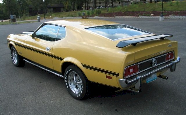 Light Yellow Gold 1973 Mustang Fastback