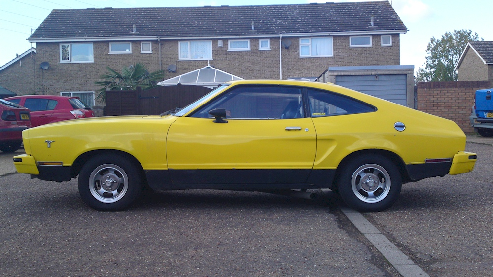 bright yellow 1976 ford mustang ii stallion fastback. Black Bedroom Furniture Sets. Home Design Ideas