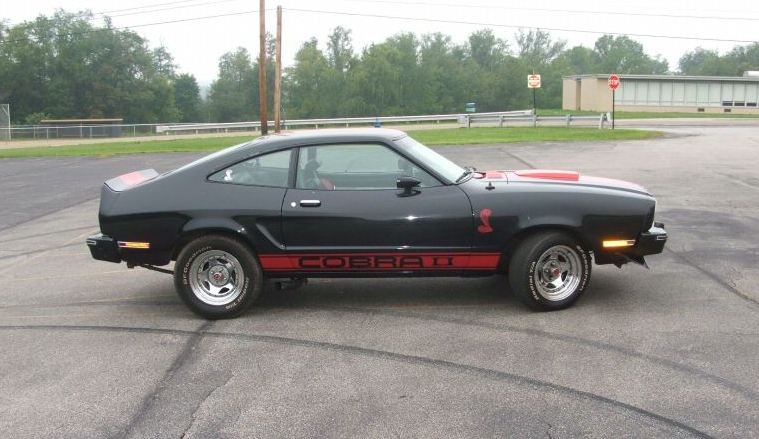 Black 1977 Mustang Cobra II Hatchback