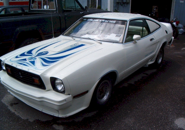 White 1978 Mustang II King Cobra
