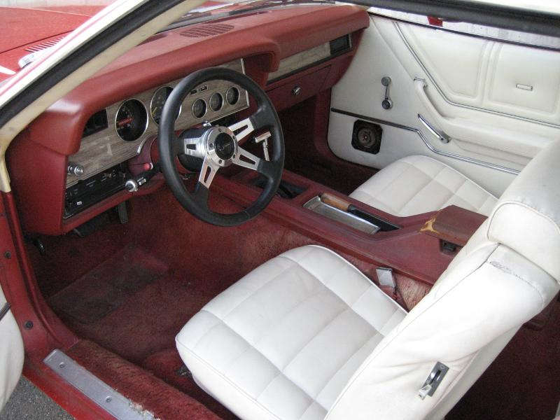 White and Red Front Seat 78 Mustang II Ghia Coupe with White Vinyl Roof