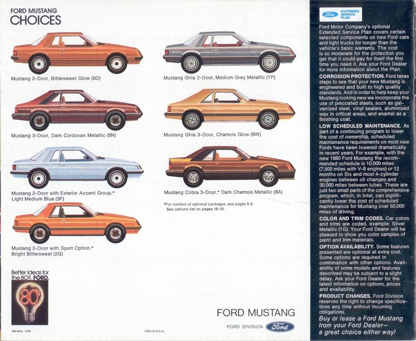 1980 Mustang Body Style and Option Groups