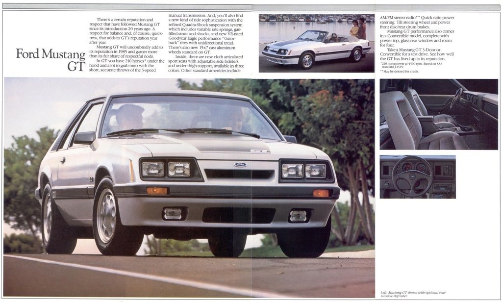 Mustang GT: 85 Ford Mustang Promotional Brochure