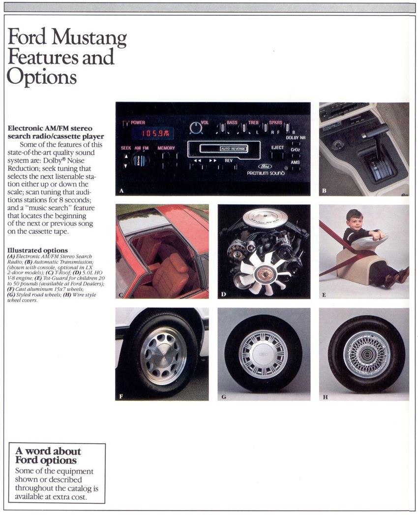 Options: 1985 Ford Mustang Promotional Brochure