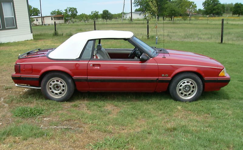 Medium Cabernet Red 1987 Mustang Lx Convertible