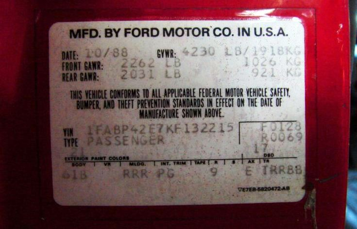 Door tag of Bright Red 1989 Mustang GT