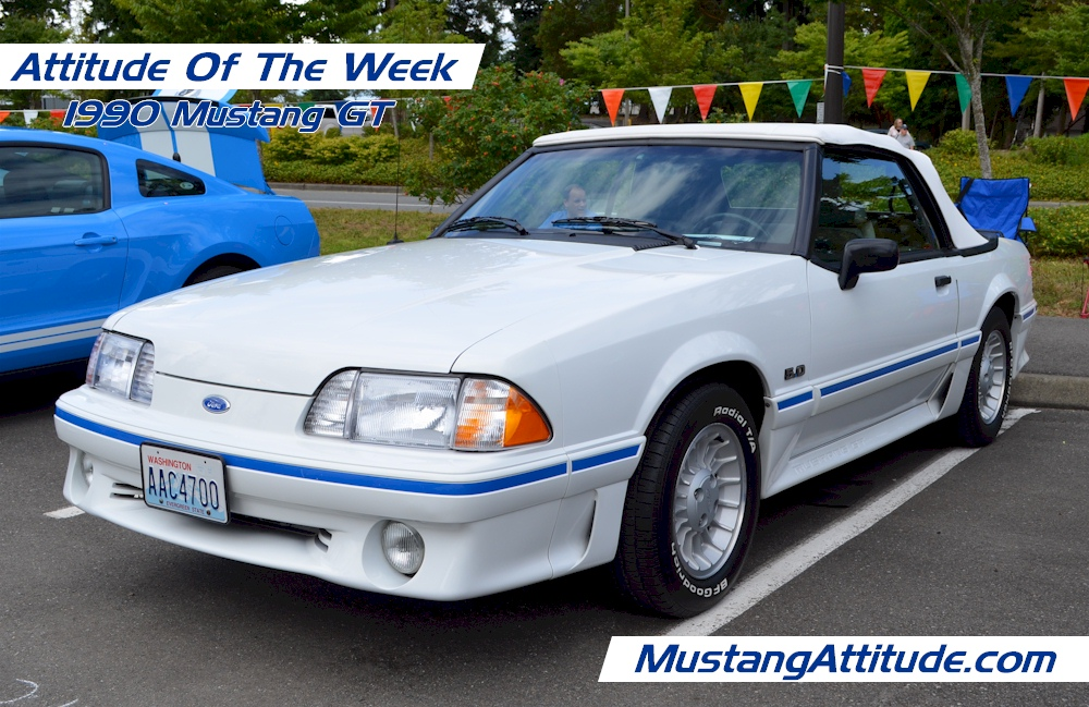 Oxford White 1990 Mustang GT convertible