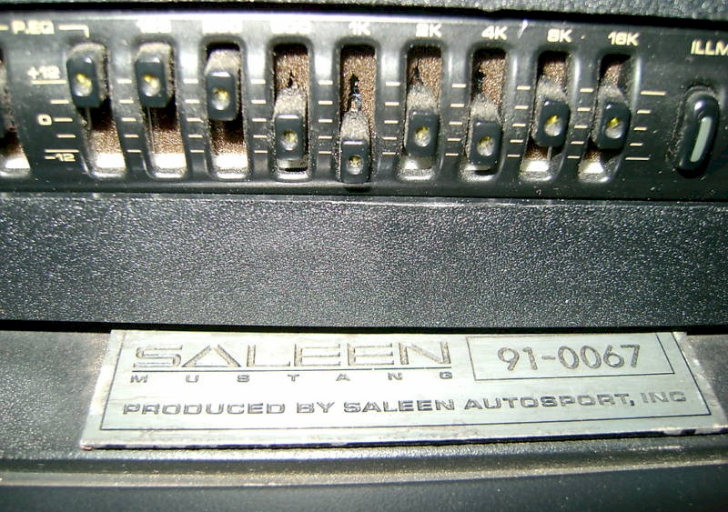 1991 Mustang Saleen ID Plaque