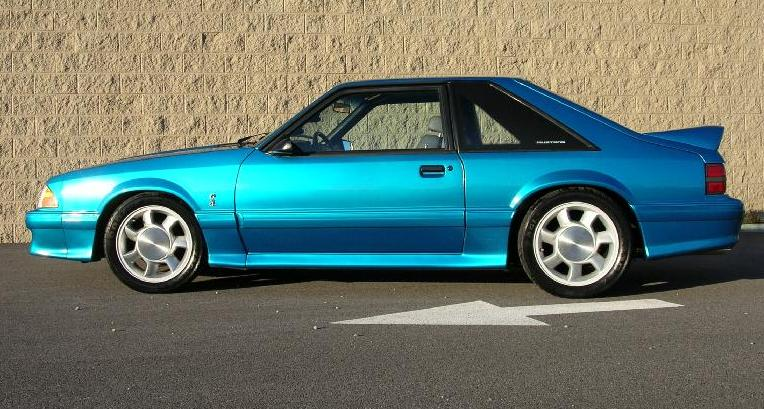 Modified Teal metallic blue 93 Mustang SVT Cobra Hatchback