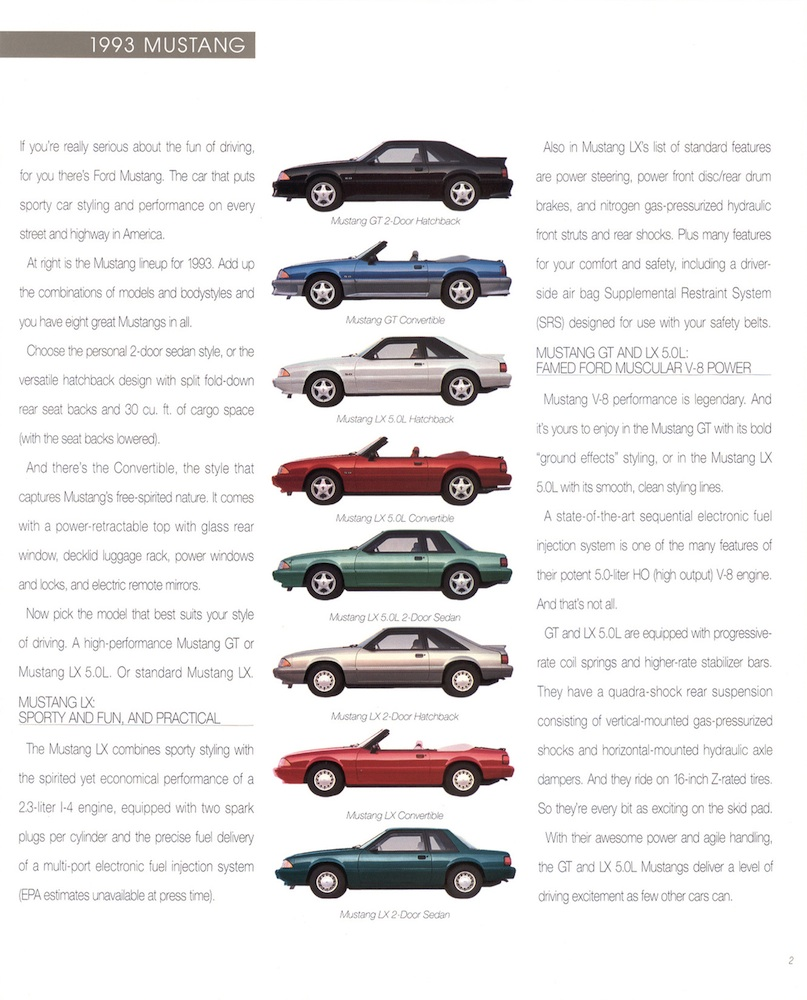 Mustang Body Styles and General Information