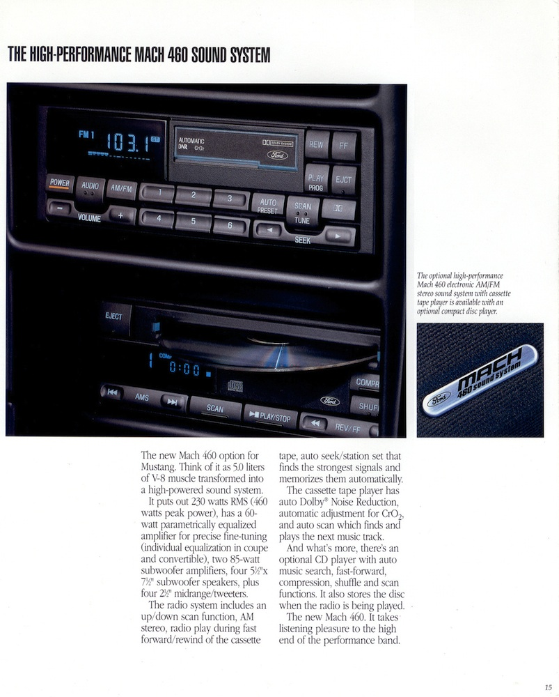 Page 15: 1994 Ford Mustang Promotional Brochure