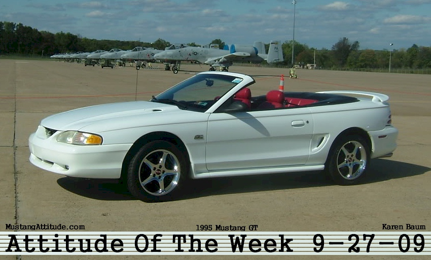 Crystal White 1995 Mustang GT Convertible