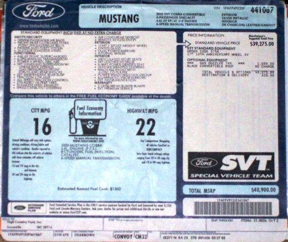 Silver 2003 Ford Mustang SVT Cobra 10th Anniversary ...