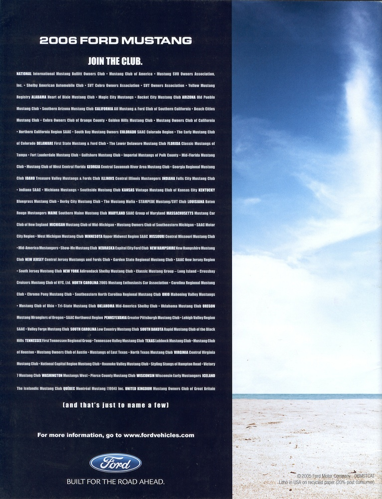 Back Cover: 2006 Ford Mustang Promotional Brochure