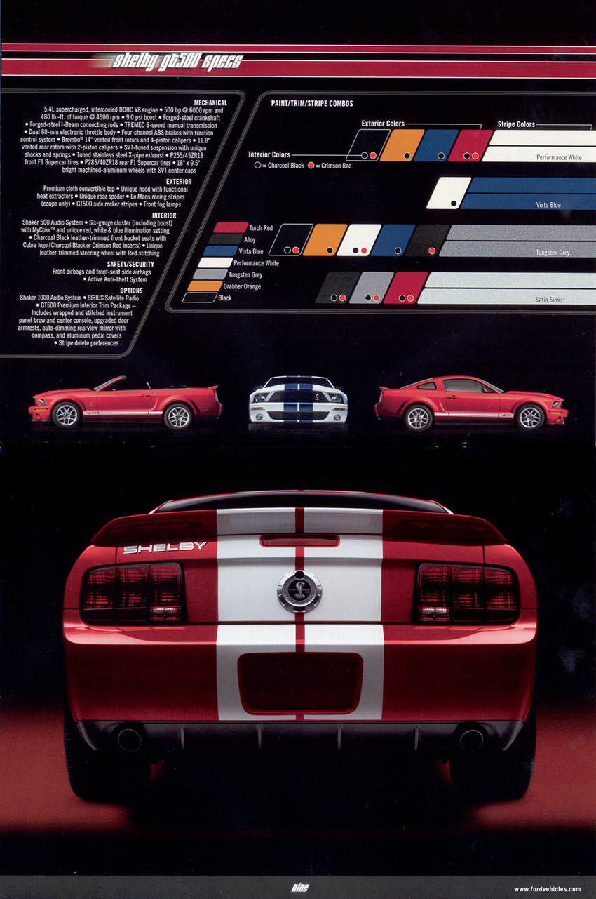 Page 18 and 19 : Shelby GT500 color options