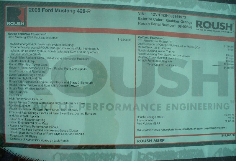 Invoice 2008 Roush Mustang
