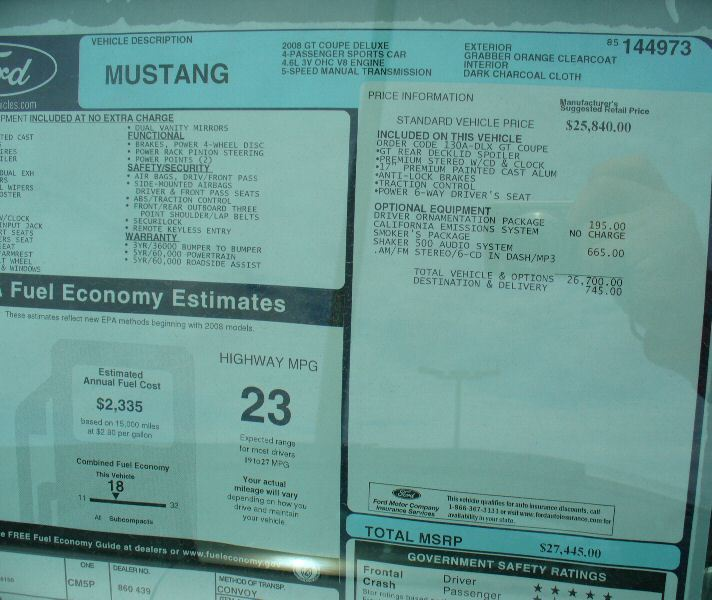 Mustang invoice