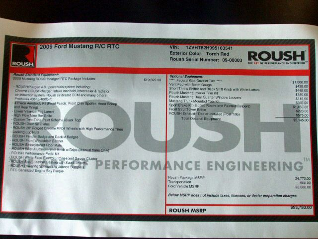 Window Sticker 2009 Mustang Roush RTC Coupe