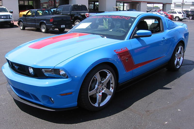 Grabber Blue with Red Stripes 2010 Roush 427R Mustang Coupe