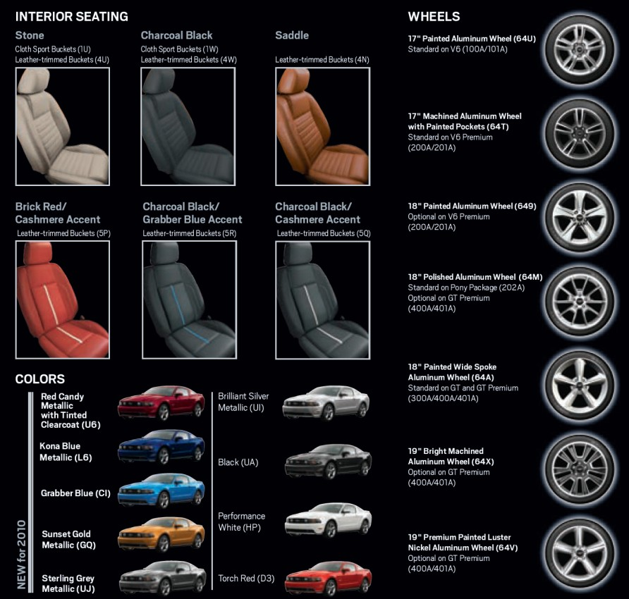 2010 Mustang Interior Seat, Wheel, and Exterior Color Options