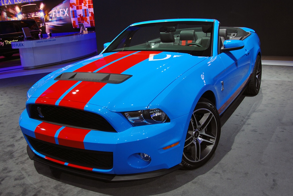 Grabber Blue 2010 Shelby GT500 with Red Stripe Convertible
