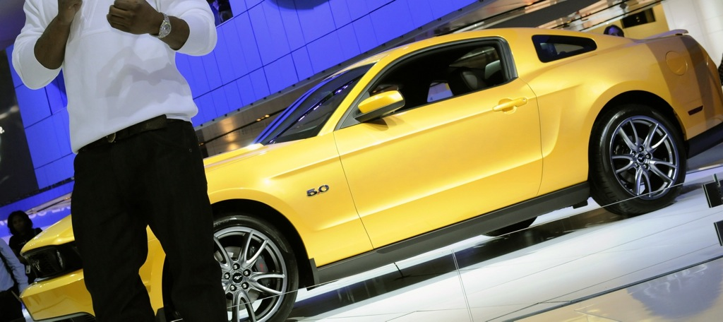 Close-up Yellow Blaze 2011 Ford Mustang