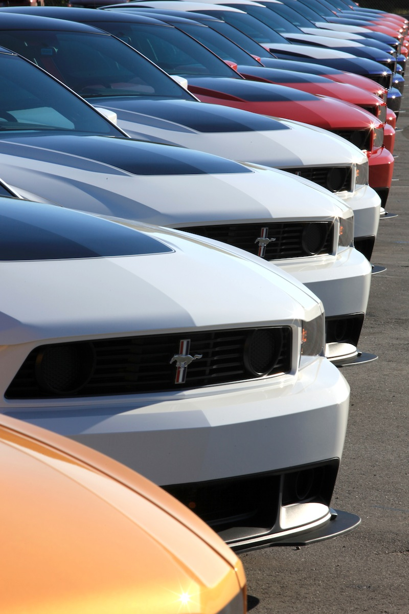 Line of 2012 Boss 302 Mustangs