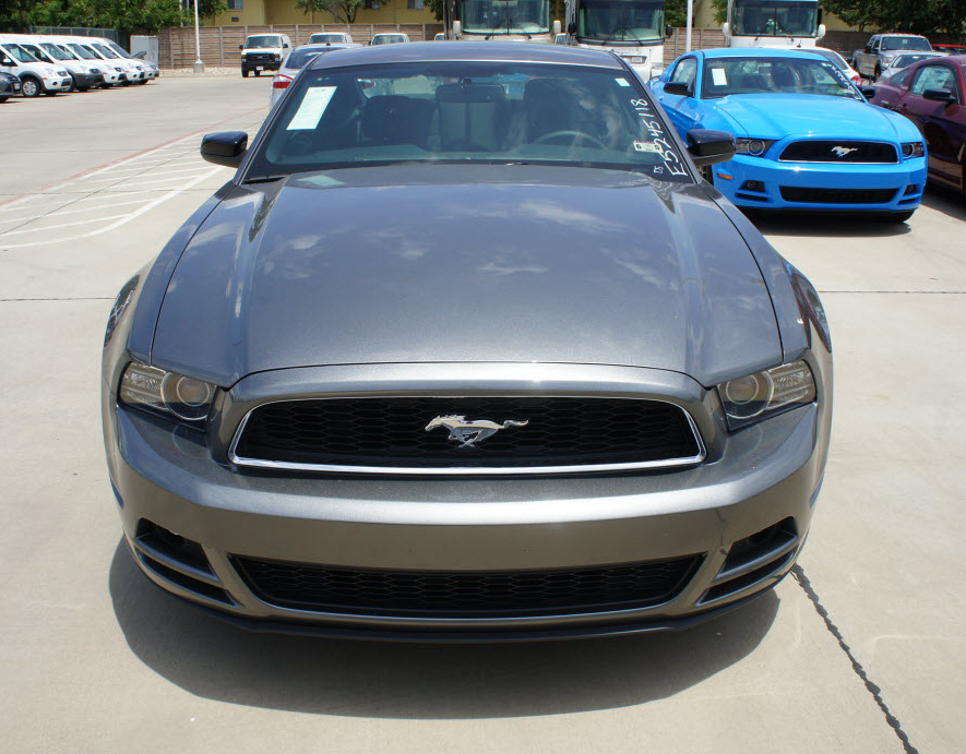 Grille of a Sterling Gray 2014 Mustang V6 Coupe