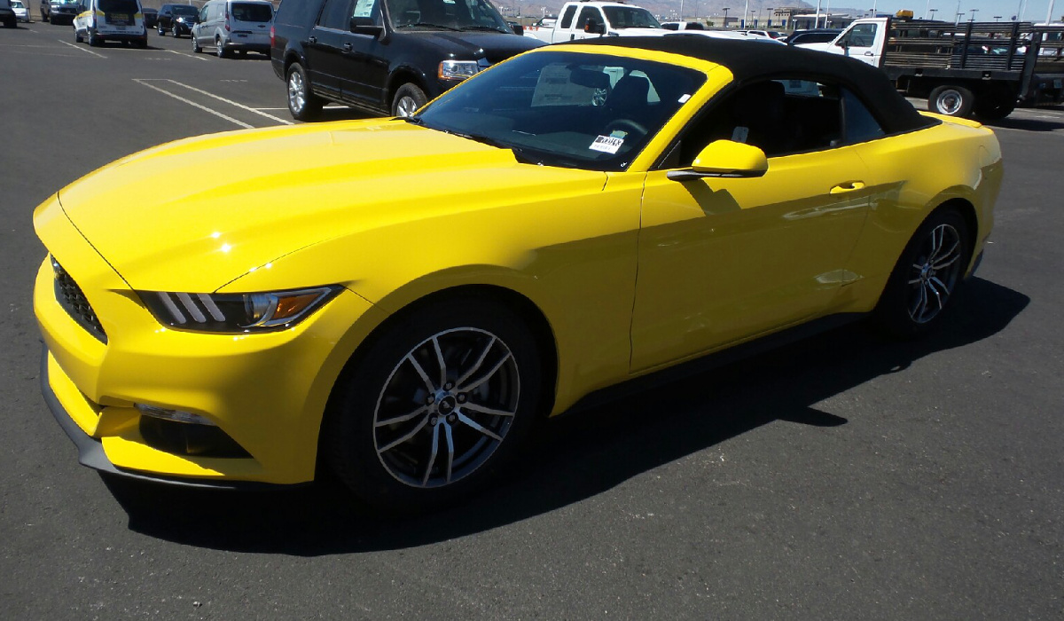 Triple yellow 2017 ford mustang ecoboost convertible