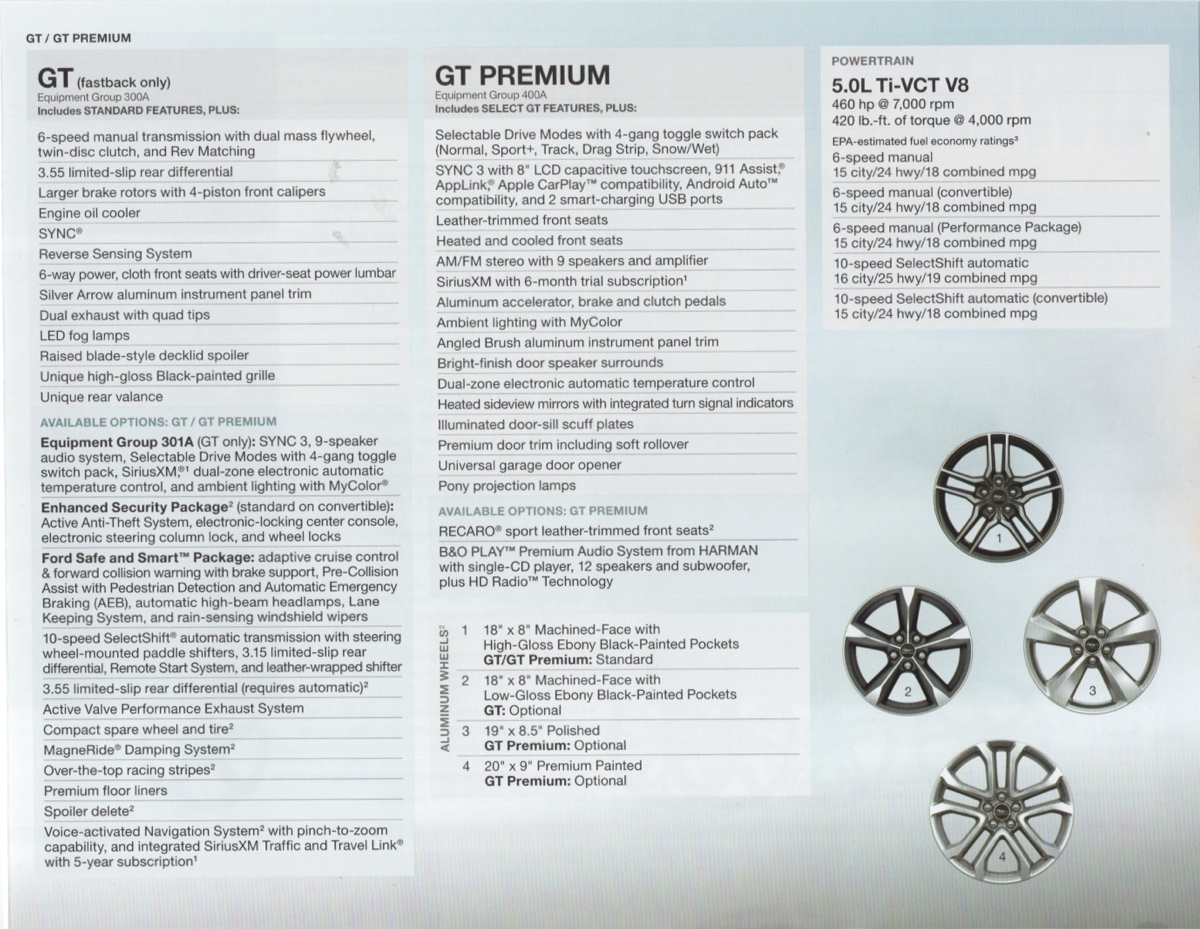 Features of the GT, GT Premium and powertrain
